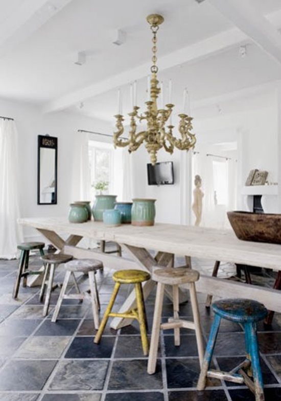 colorful chairs with white kitchen table and stools love the mix n match
