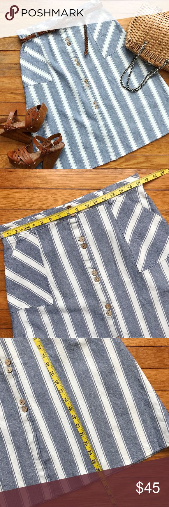 Alya 💘 Chambray is Bae Skirt Tuck your favorite blouses and sweaters in this striped denim midi skirt with large side pockets and full-button front to achieve perfectly preppy, nautical vibes. Braided belt in cover photo is not included.  • Very good gently worn condition. There are a couple little nubs in the fabric, but they aren't visible unless closely inspecting the garment. • 100% cotton. • 20% off any 2 items! 💰 Alya Skirts Midi