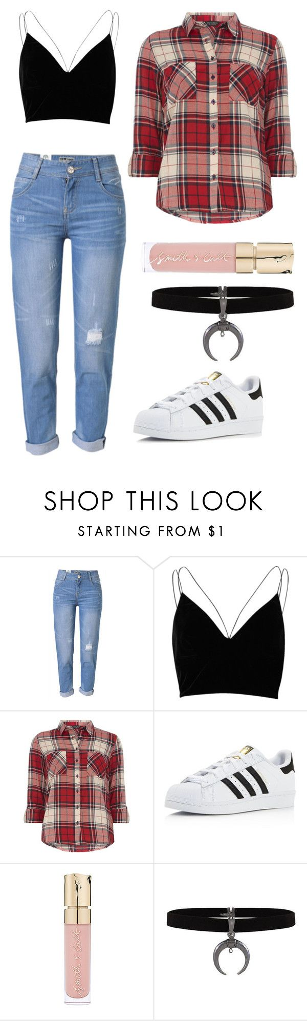 """""""Casual Summer Grunge-ish"""" by ifrancesconi on Polyvore featuring WithChic, River Island, Dorothy Perkins, adidas and Smith & Cult"""