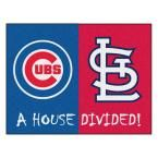 MLB Cubs/Cardinals House Divided Blue 2 ft. 10 in. x 3 ft. 9 in. Accent Rug, Blue/Blue