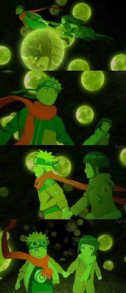 I love this scene so much. This is probably my most favorite scene in Naruto: The Last movie. I love how Hinata and Naruto are running side by side as they go back in time in their old forms. Now, Hinata is no longer following Naruto from behind but being by his side.