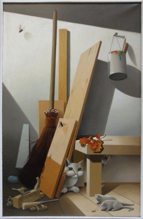 """Libor Vojkůvka """"Život v koutě dílny"""" olej na plátně, signováno, datováno 1980 110 x 70 (114 x 74) cm"""