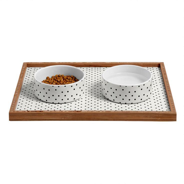Allyson Johnson Tiny Polka Dots Pet Bowl and Tray   DENY Designs Home Accessories