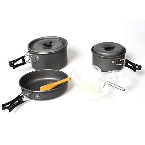 CAMPING HIKING PICNIC COOKWARE ALUMINIUM FRYING PAN POT TEA KETTLE SET SMART