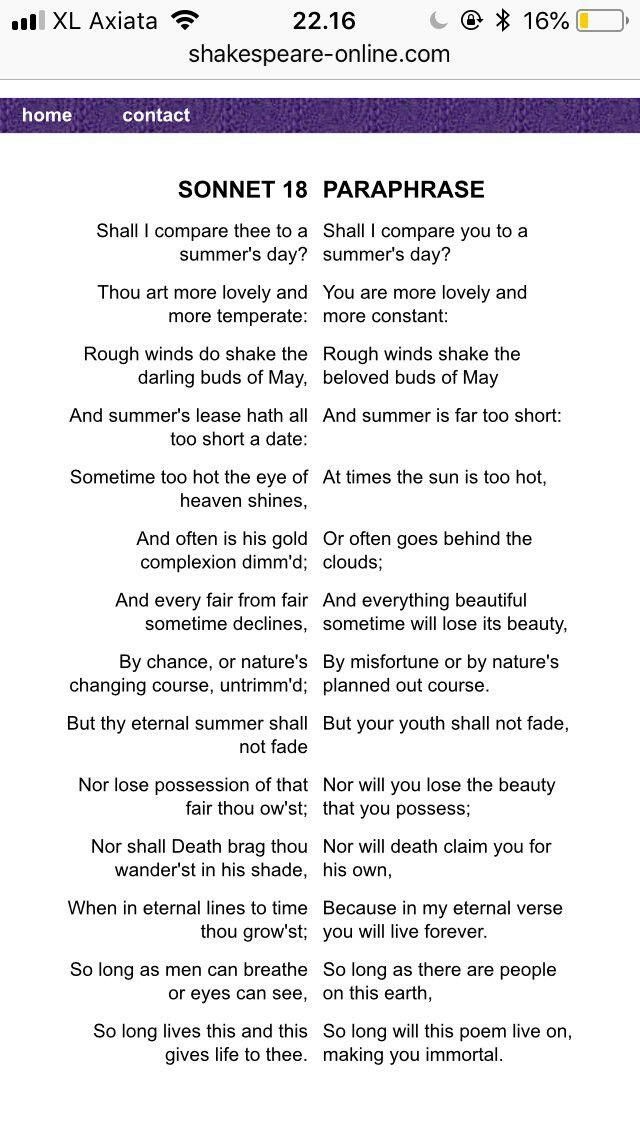 Sonet 18 Shakespeare Literature English Paraphrase Sonnet