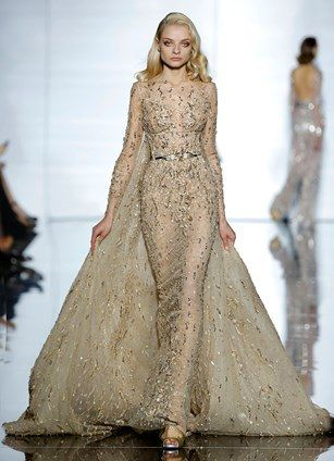 Zuhair Murad's 2015 Haute Couture #train #gown #tightdress #beige #princess #murad