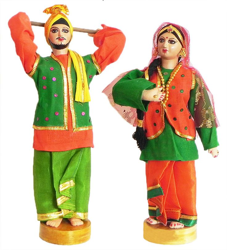 A Pair of Bhangra Dancers from Punjab, India - Costume Cloth Dolls