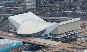 [Hadid] London Aquatics Centre during the Olympic games with the 'wings'