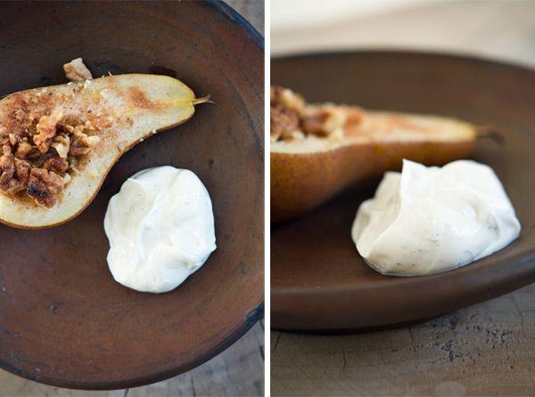 Bagte pærer med valnødder og honning opskrift blog: Valdemarsro