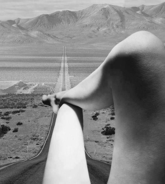 Interesting photo manipulation.. Legs / Nude by Bill Brandt, 1951 mixed with Long desert highway leading into Death Valley National Park from Beatty, Nevada / Stock Photos. Artist? °
