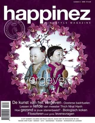 Happinez 2006 - 2  Vergeven. In dit nummer: Vergeven - Reinigingsrituelen in de Hamam - Thich Nhat Hanh - Sterrenbeelden en gezondheid.
