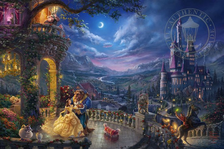In 1991, Walt Disney Pictures released their third Renaissance Period film, Beauty and Beast. Now Disney's cherished portrayal of true love has been captured with its entire cast in a narrative panorama by Thomas Kinkade Studios in Beauty and the Beast Dancing in the Moonlight. Created in celebration of the 25th Anniversary of Disney's Beauty and Beast film, this highly collectible Limited Edition Art is the third Beauty and the Beast image in the Disney Dreams Collection and the first to…