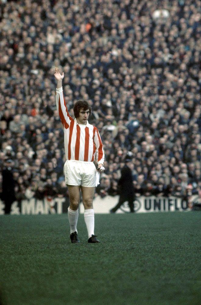 Stoke City 3 v Leeds 2. Alan Hudson of Stoke. 23rd February 1974. Art Print