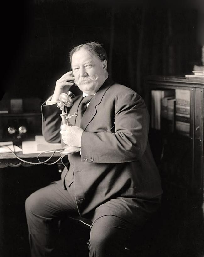 William Howard Taft  Took Office - March 4, 1909. Left Office - March 4, 1913. The twenty seventh president, Republican party. His vice president was James S. Sherman until 1912, after that, no VP.
