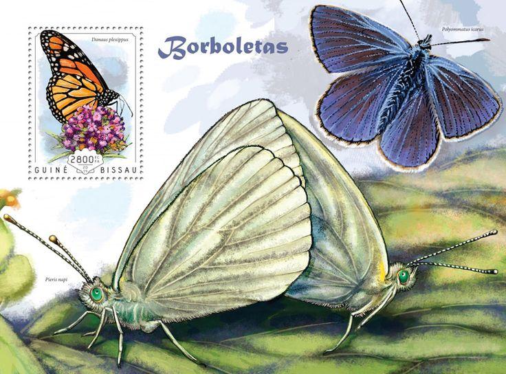 Post stamp Guinea-Bissau GB 14608 bButterflies (Danaus plexippus)