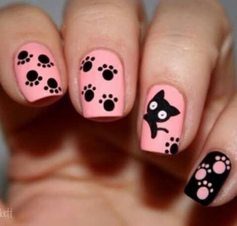 Pink and black, cat art - 169 Best Nails Images On Pinterest Nail Scissors, Nail Arts And
