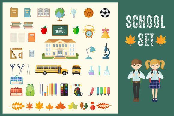 Set of Flat School Icons by romawka on @creativemarket