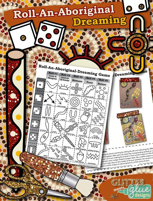 """Roll-An-Aboriginal-Dreaming Game - Multicultural Collage Art Activity!""  But use it in a less culturally-abusive way. More study and appreciation, than fill in the blank with somebody else's sacred symbols"