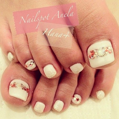 Seashell nail decal art with glitter sand