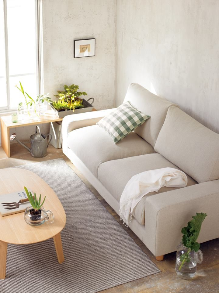 Cozy living room on muji see the wooden bench beside the - Pictures of apartment living rooms ...