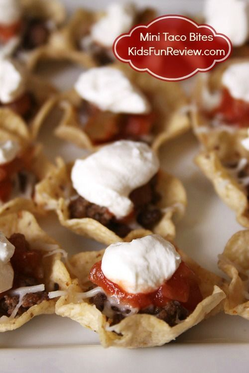 Mini taco bites appetizer recipe ~Super easy and great for football parties or kid's birthday parties