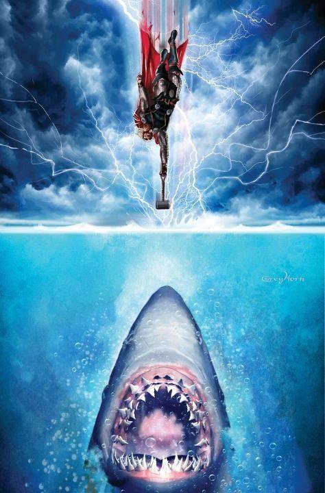 Thor Vs The Shark: Books Covers, Geek Art, Marvel Comic, Comic Books, Comic Covers, Fans Art, Comic Art, Covers Art, Greg Horns