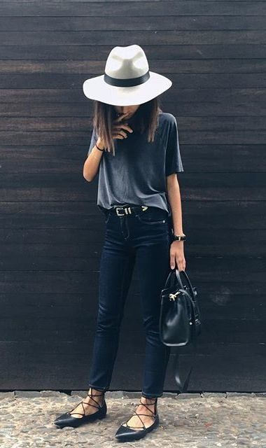 Grey fedora, charcoal grey t-shirt, black leather skinny trousers, lace-up pointy flats & black bag | @styleminimalism