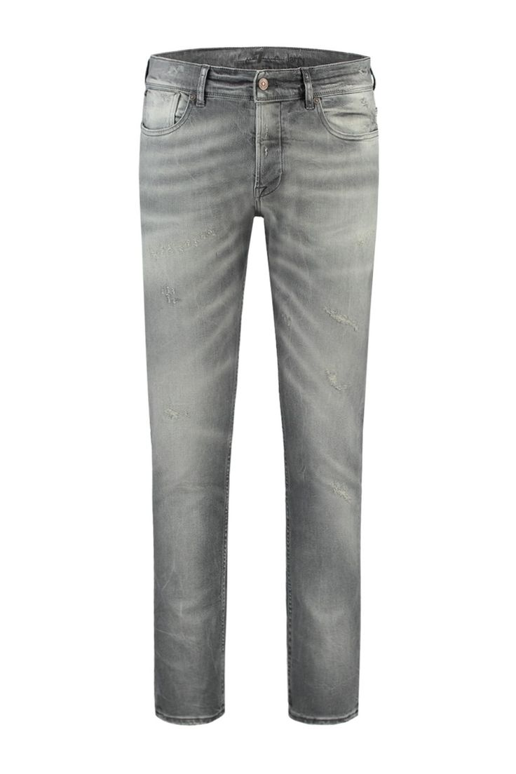 Deze jeans van 7 For All Mankind is van 99% katoen en 1% elastaan. De grijze denim is afgewassen voor een authentieke gedragen look en feel met hier en daar een destroyed plekje. De jeans is slim fit met toelopende pijp en middelhoge taille. 7 For All Ma