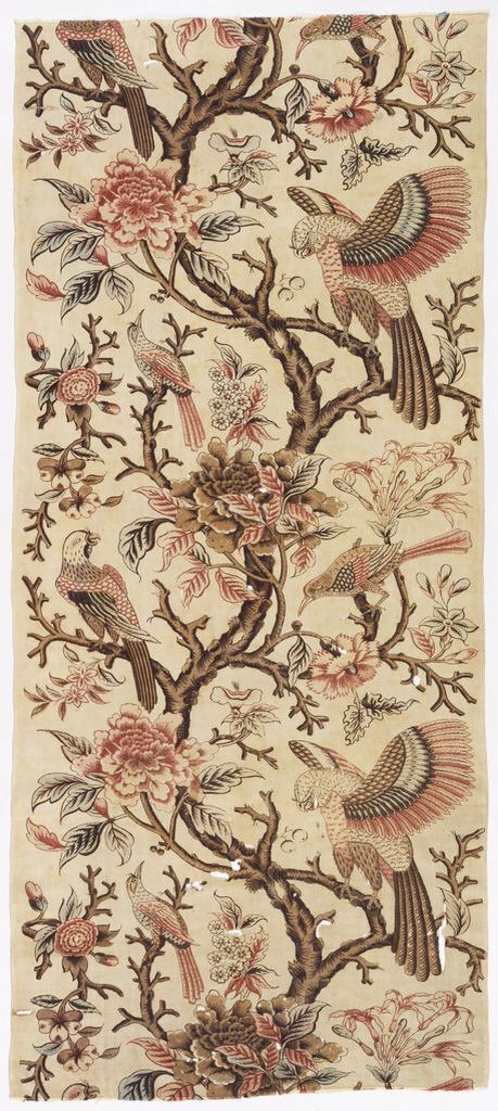 Textile with a large-scale design of a woody vine with exotic flowers, parrots and smaller birds, Britain, ca.1785-95. Cotton, block printed on plain weave
