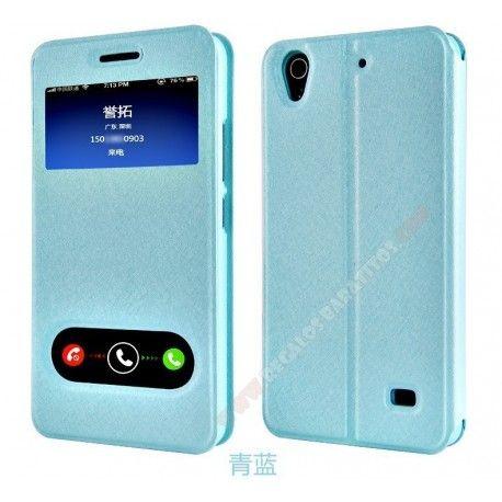 Funda piel tapa diseño doble ventana para Huawei Ascend G620S