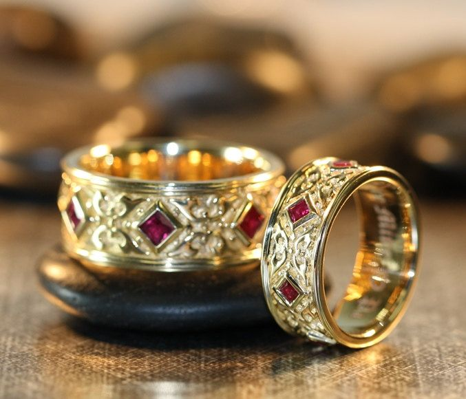 Celtic Wedding Ring Set 14k Yellow Gold Princess Cut Ruby Wedding Bands for Men and Women Matching Wedding Bands His and Hers by LaMoreDesign on Etsy