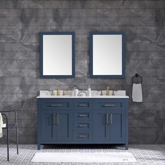 Ove Decors Tahoe 60 In Midnight Blue Double Sink Bathroom Vanity With White Cultured Marble Top Mirror Included Lowes Com In 2020 Bathroom Vanity Double Vanity Bathroom Vanity Set With Mirror