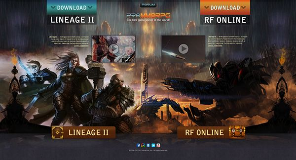 ProMMORPG - start page by Alexander Petrov, via Behance