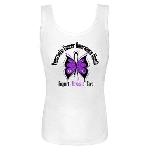 Support Pancreatic  Cancer Awareness Month White Women's Tank Top. $18.99 www.pancreaticcancertshirts.com #pancreaticcancerawareness