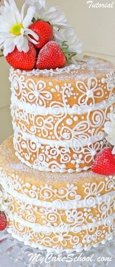 Semi-Dressed Cake. Glaze the cake to prevent dryness, and cover with beautiful piped scrollwork! MyCakeSchool.com