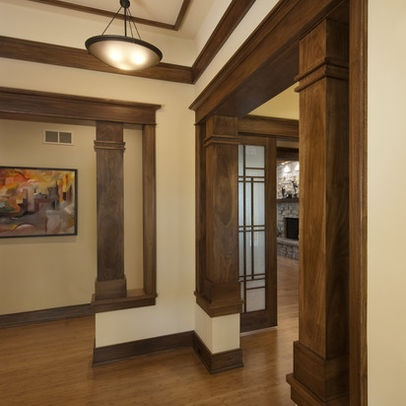 Dark interior columns and overhead trim cottage style for Cottage style interior trim