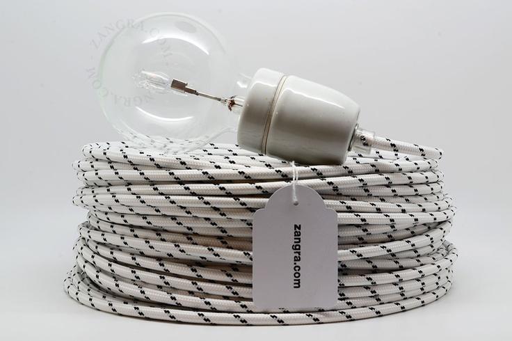 wit zwart textielsnoer, strijkijzersnoer, textielkabel, snoer met patroon, stofkabel, textieldraad, gekleurd elektriciteitsnoer, strijkijzerkabel, | Zangra.com