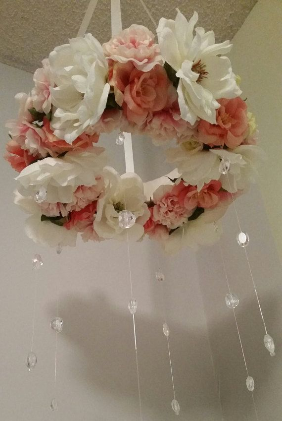 Flower and Crystal Baby Mobile by mybabyyoullalwaysbe on Etsy