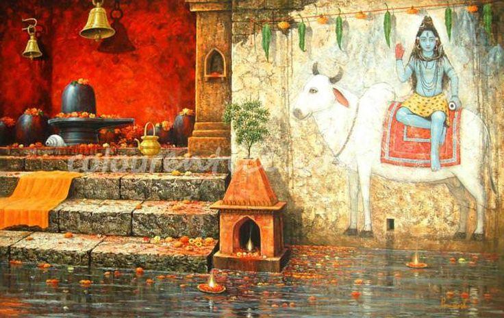 """Shivling on Benaras Ghat"" one of the Best Artwork by Artist Paramesh Paul http://www.colourentice.com/products/shivling-benaras-ghat-0 Medium: Acrylic on Canvas & Size: 38"" X 62"" #Art #Paintings #IndianArt #Artwork"
