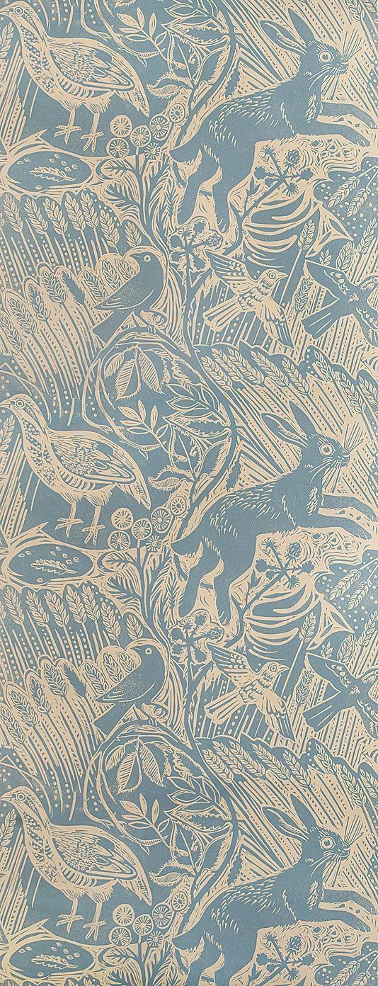 Harvest Hare Wallpaper  £60.00 per roll  Excellent lino print wallpaper with Mark Hearld rabbit and bird design in lead blue.