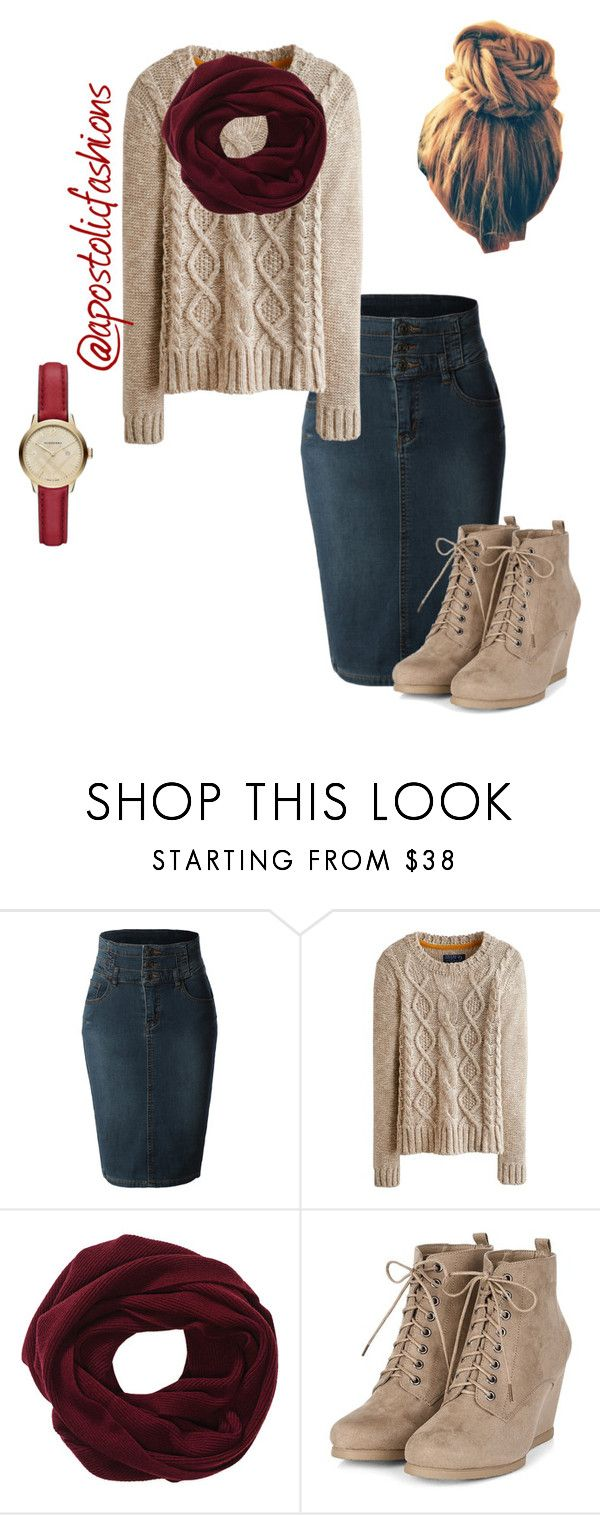 """Apostolic Fashions #938"" by apostolicfashions ❤ liked on Polyvore featuring LE3NO, Joules and Burberry"