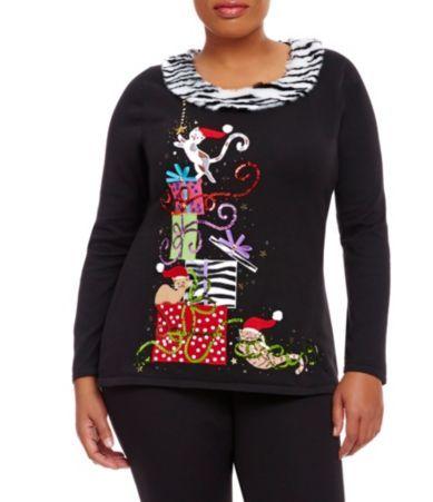 Cute kitten Plus Size Christmas Sweater for Women