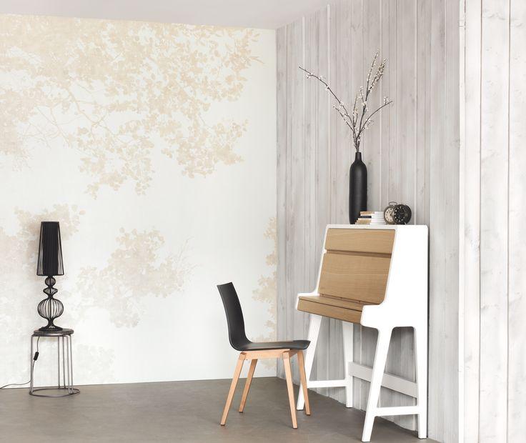 Collection g ode papier peint nature v g tal beige l gant vegetal a - Papier peint vegetal ...