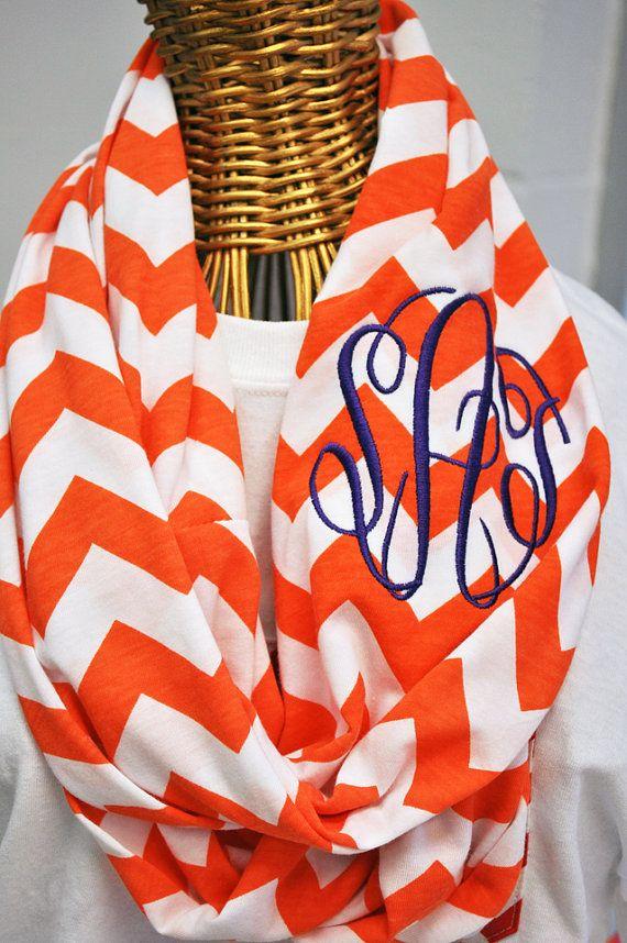Clemson Orange Chevron Infinity Scarf in Soft Jersey Knit Monogram Bridesmaid Gift Clemson Game Day Monogrammed Chevron Scarf