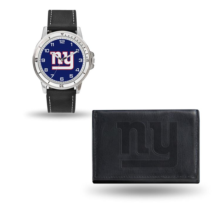 New York Giants Watch and Black Leather Wallet Set