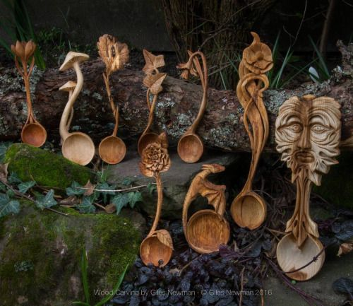 Hand Carved Spoons by Giles Newman