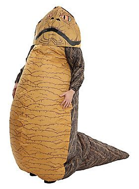 "Officially licensed inflatable Jabba The Hutt costume with attached inflating fan. Turn it on and become one of the galaxy's most powerful gangsters! Requires 4 ""AA"" batteries (not included).<br><br>Costume includes: headpiece, inflatable body and battery operated fan.<br><br><b>Final Sale. No Returns.</b><br><ul><li style=""list-style-position: inside !important; list-style-type: disc !important"">Nyl..."