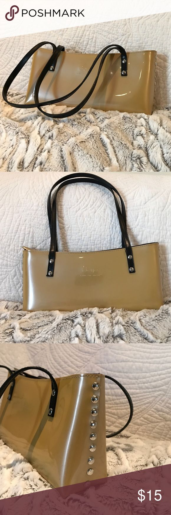 Shimmering Deep Gold  Beijo Purse This is a deep gold, or shimmer mustard yellow color. It has a zipper to close the main compartment. Inside the bag there is a zippered pocket and there is an organization pocket. The straps has a slight wear to them. Beijo Bags Shoulder Bags