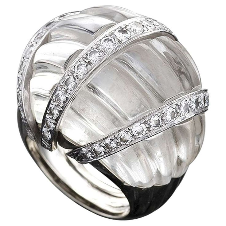 David Webb 1970's Rock Crystal Diamond Platinum Bombé Ring For Sale
