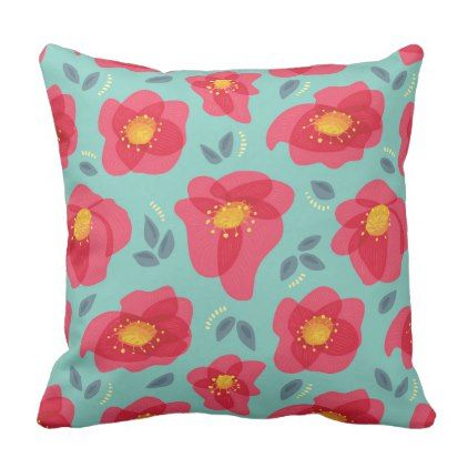 Spring Floral Pattern With Bright Pink Petals Throw Pillow - pattern sample design template diy cyo customize
